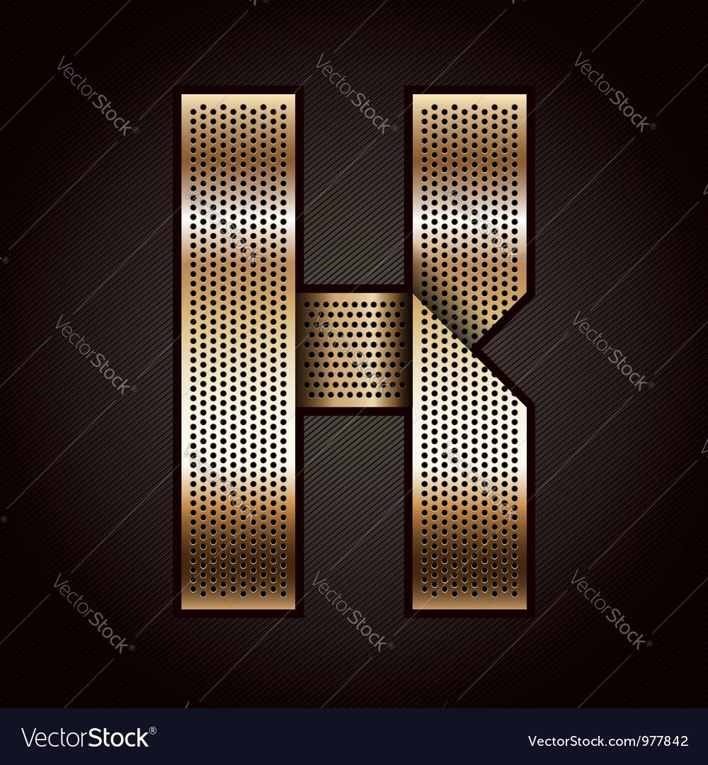 Letter metal gold ribbon - k vector