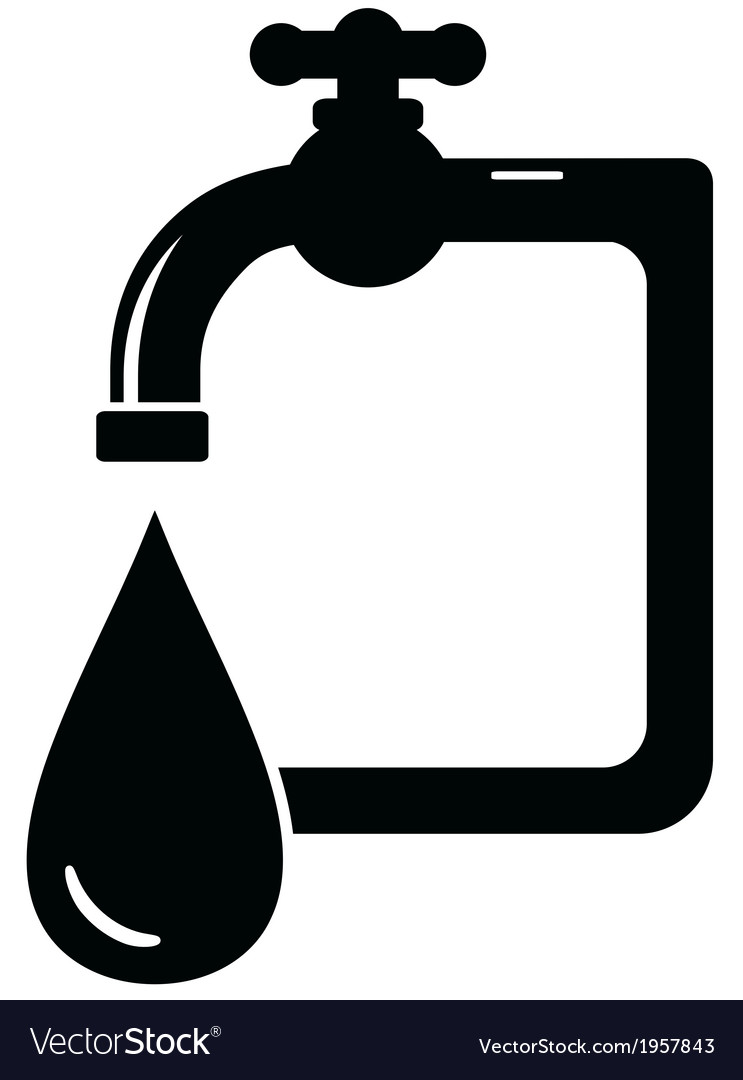 Black isolated icon faucet vector