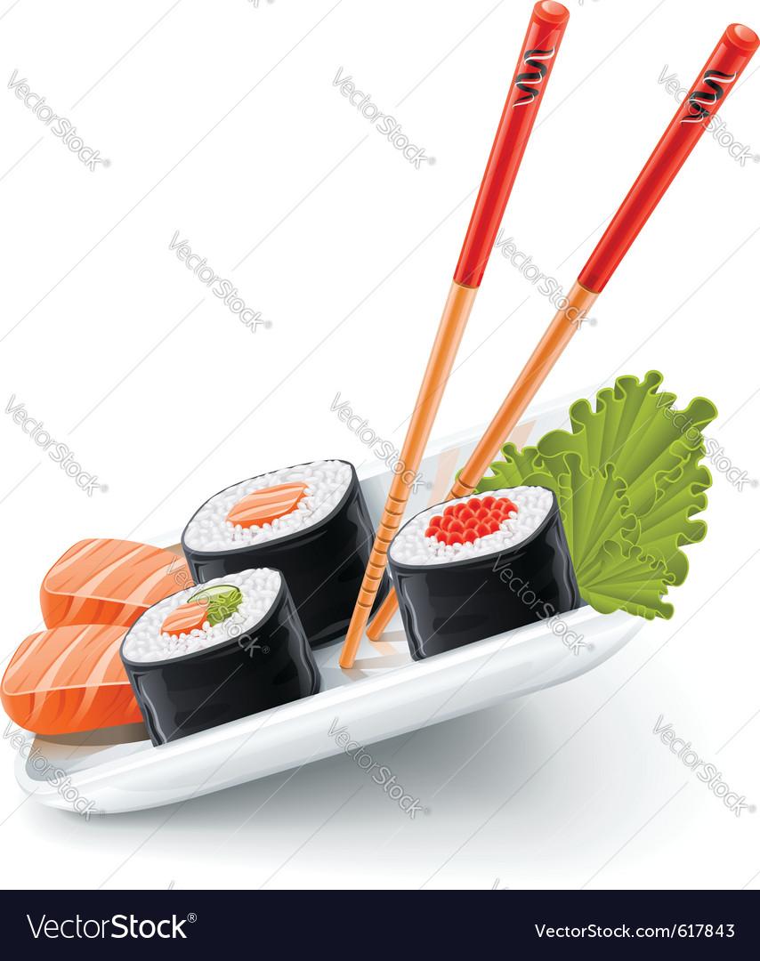 Japanese sushi vector