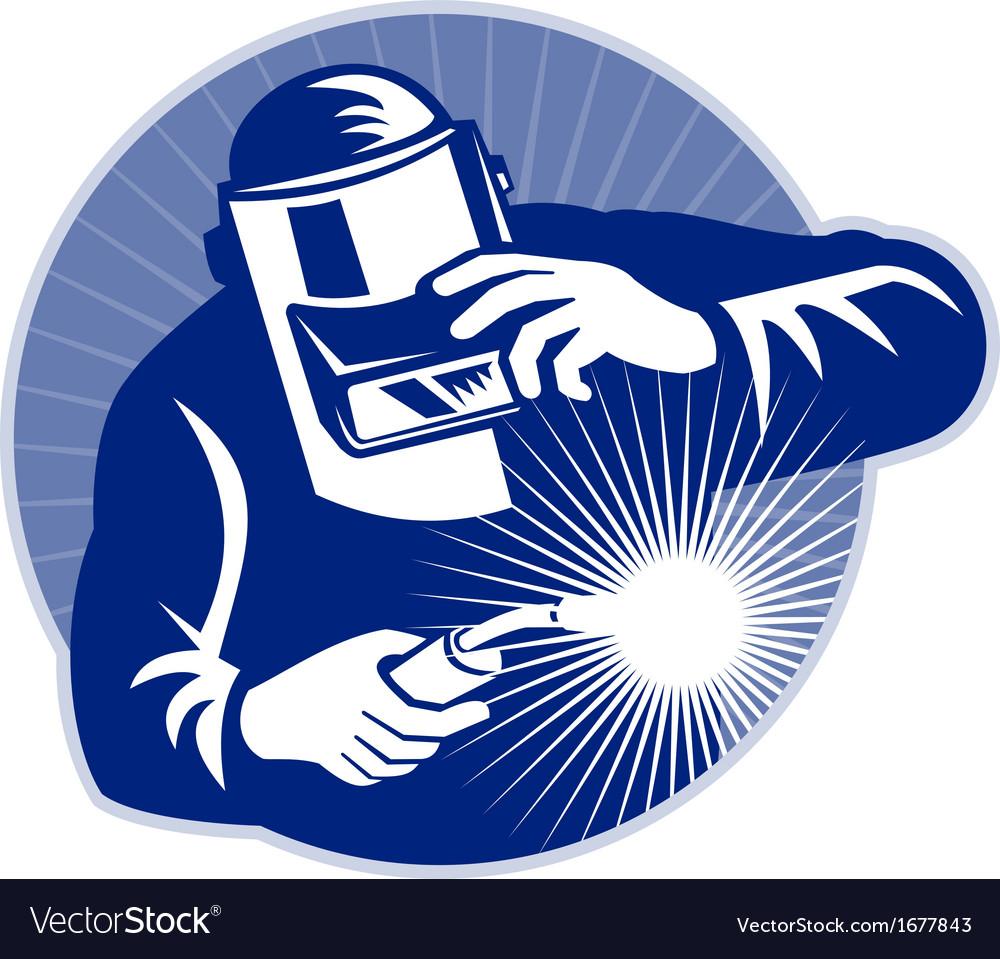Welder at work welding set inside circle vector
