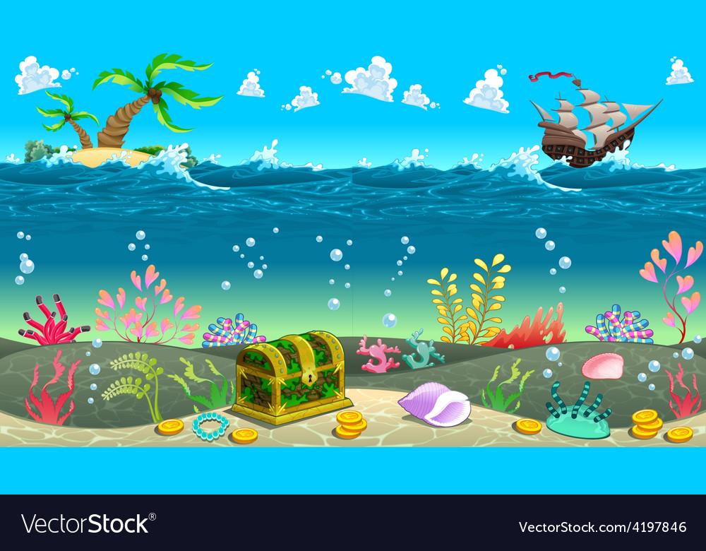 Funny scene under the sea vector