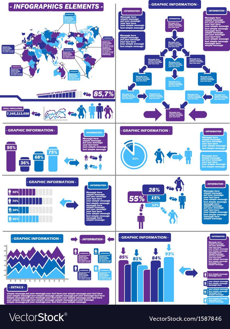 Infographic demographics purple 11 vector