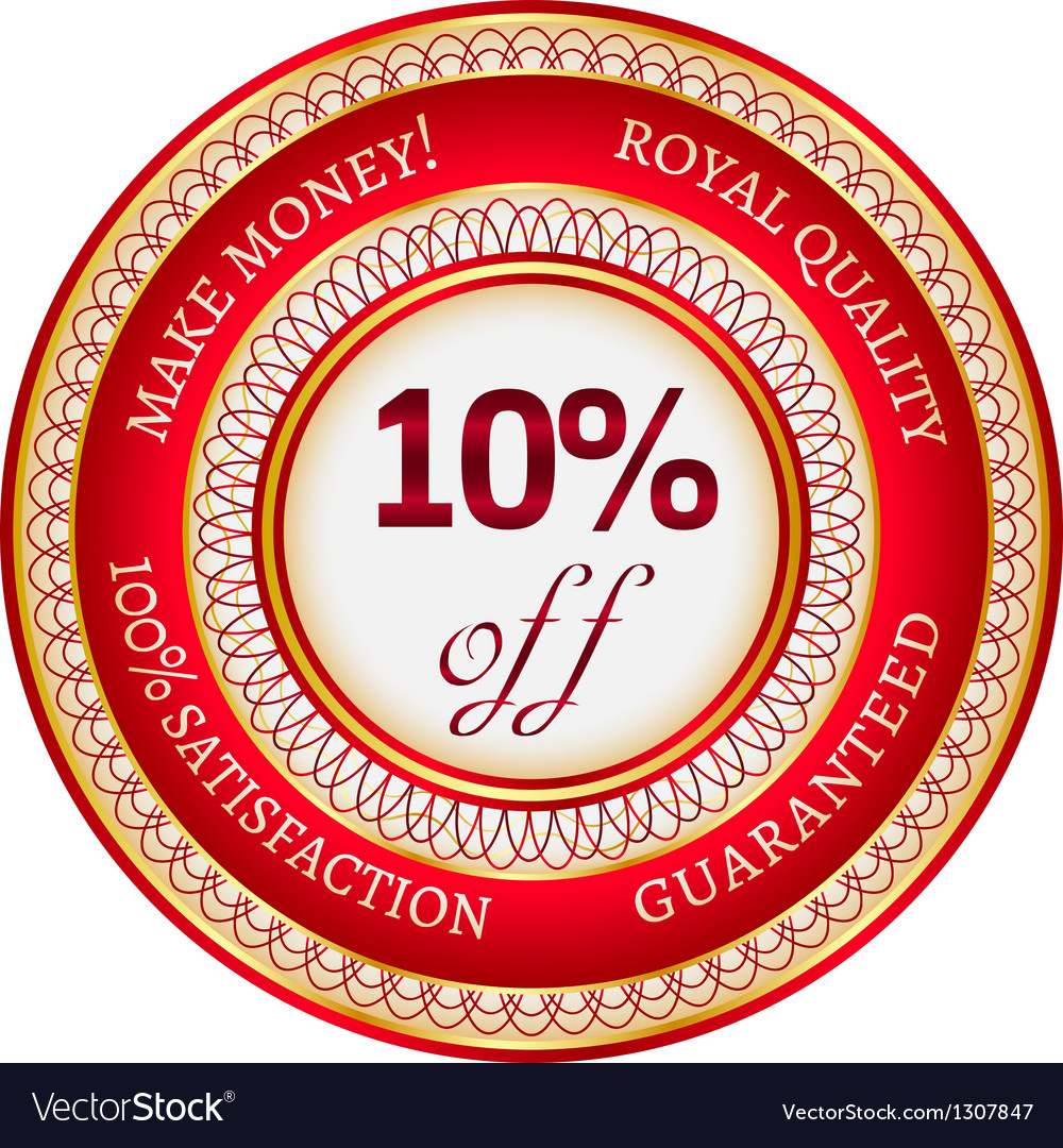 Label on 10 percent discount vector