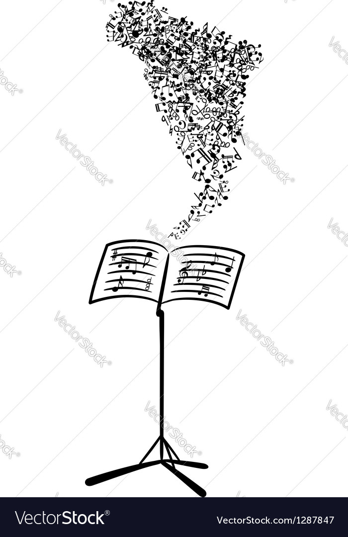 Lectern with flying musical notes vector