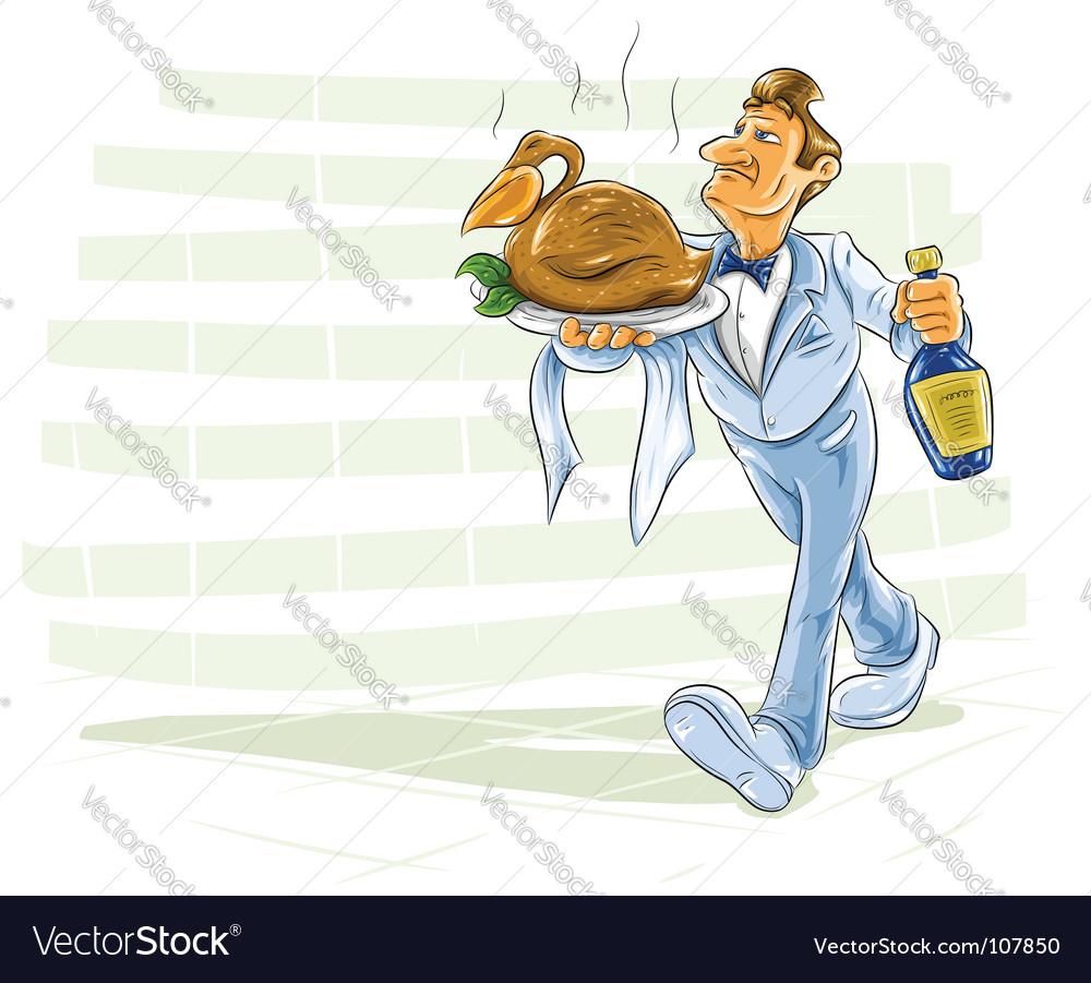 Waiter serving meal vector