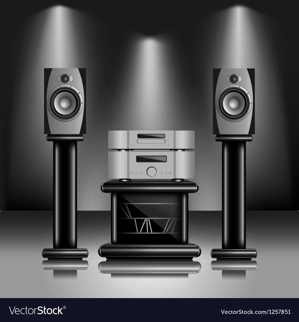 Hi-fi audio sound system vector