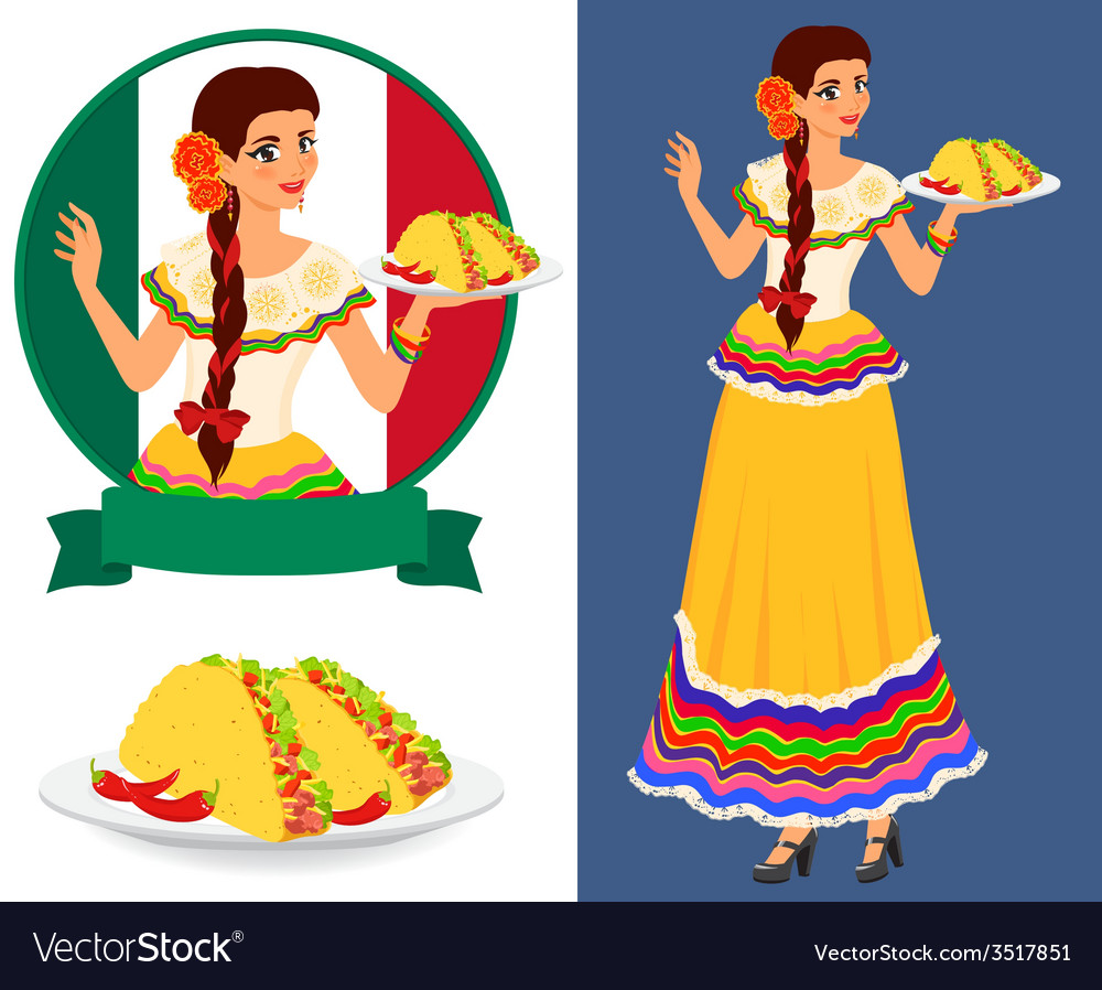 Mexican girl with taco vector