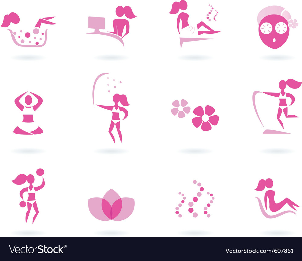 Pink spa wellness icons vector