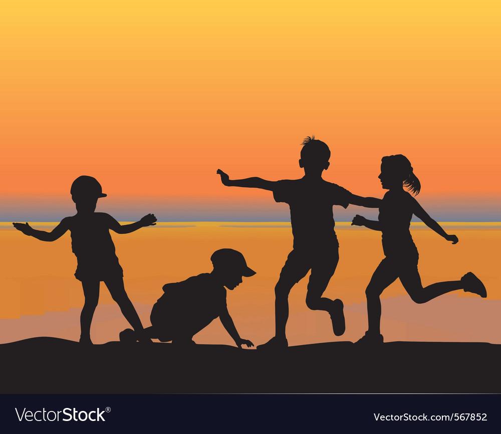 Beach children vector