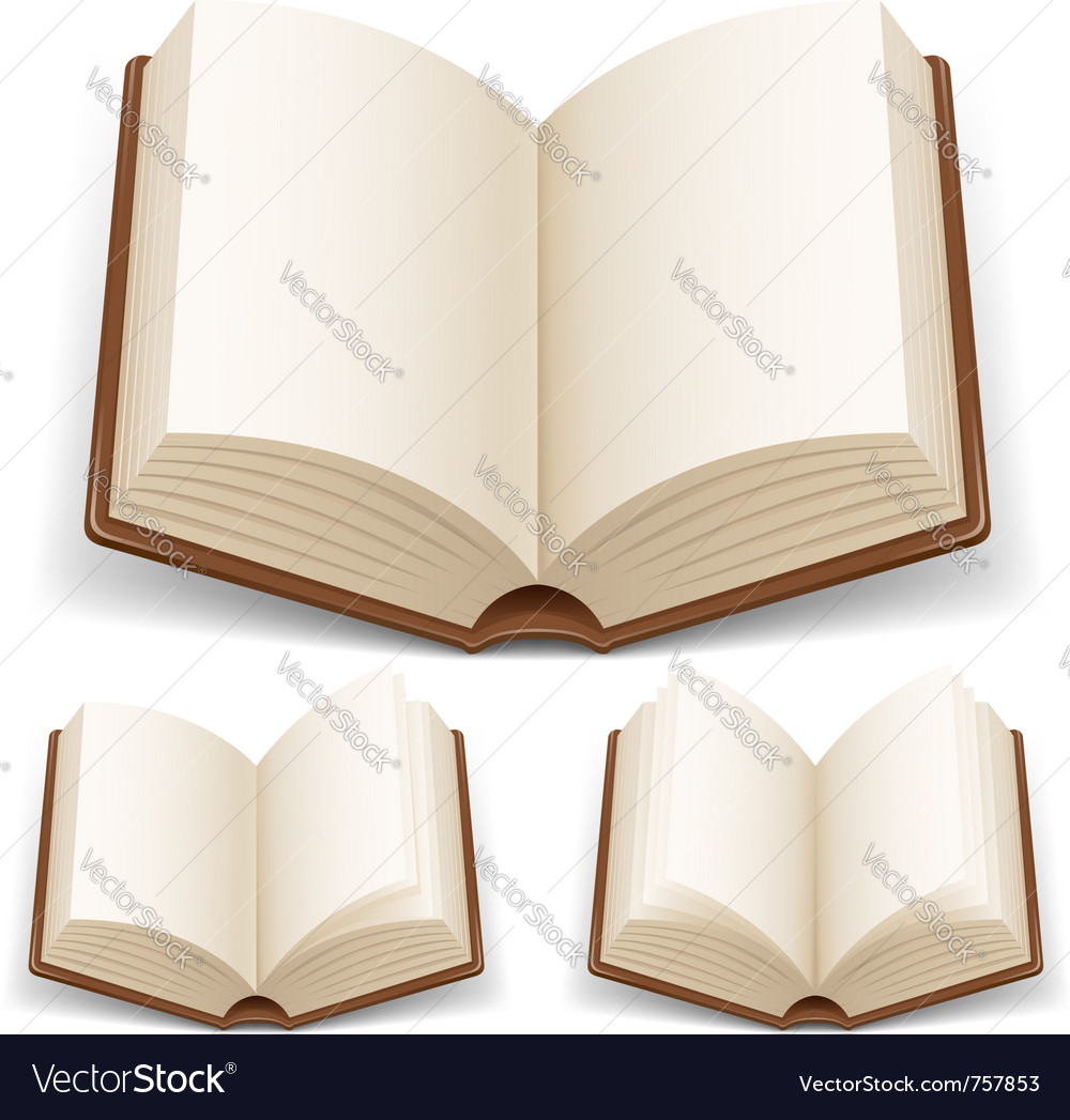 Open book with white pages vector
