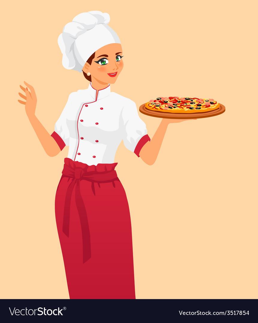 Italian tasty pizza and woman chef vector