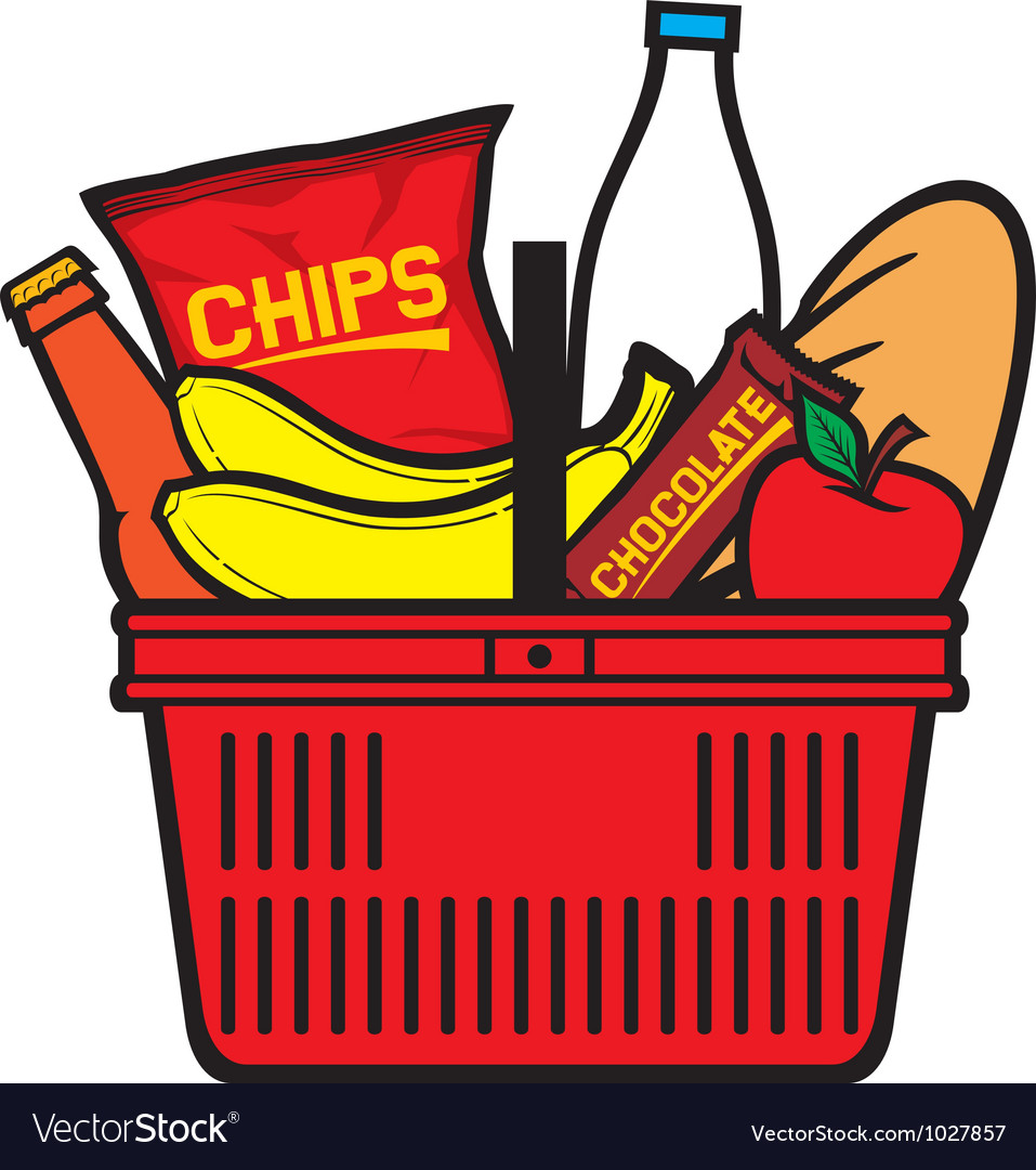 Shopping basket with produce vector