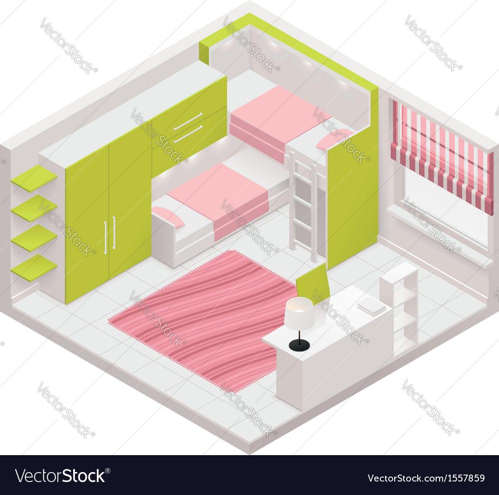 Isometric children room icon vector