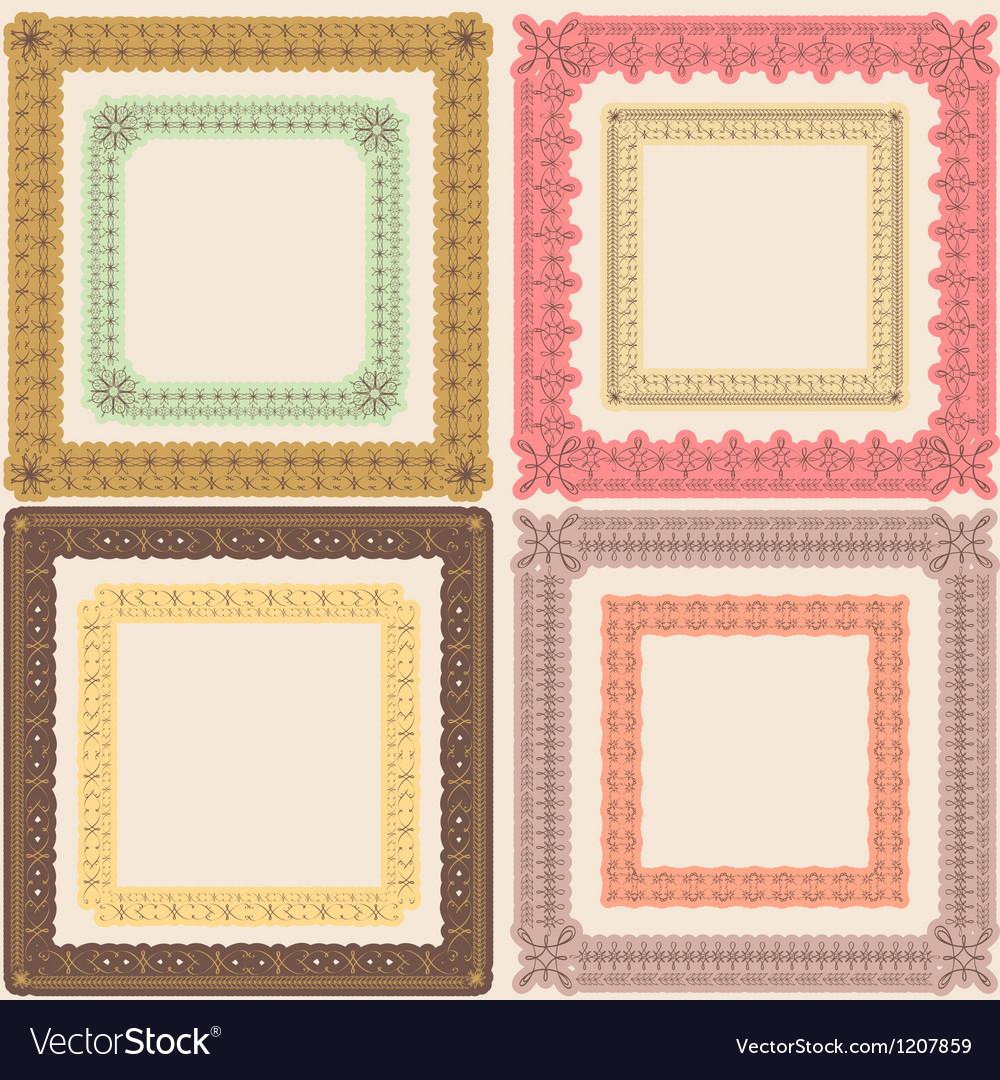 Set of vintage calligraphic frames vector