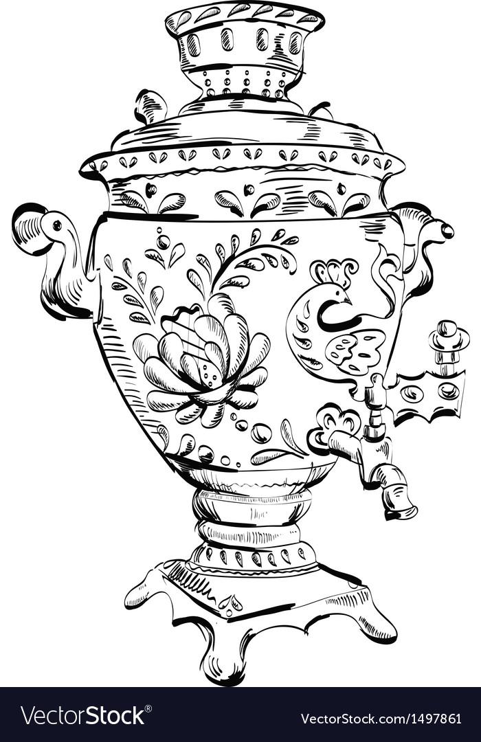 Russian samovar  sketch tea vector