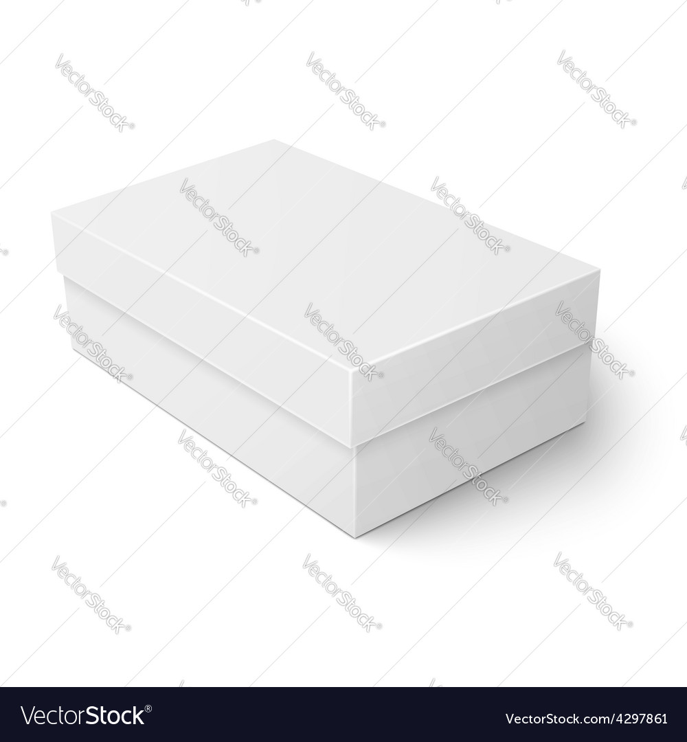 White cardboard shoebox template vector