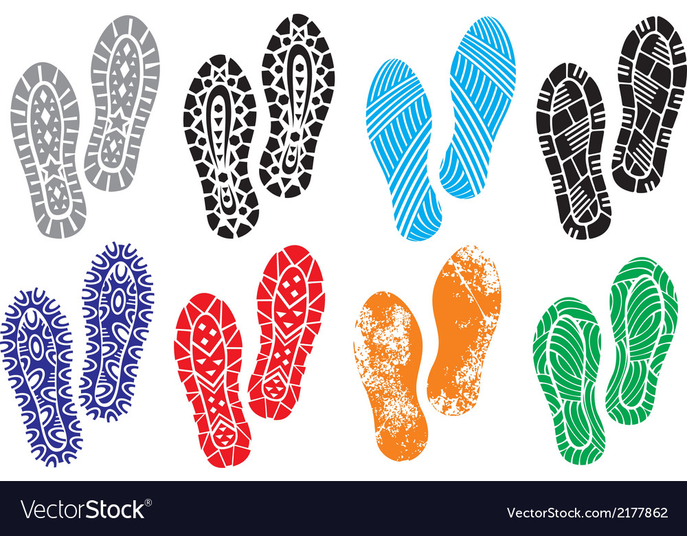 Collection of a imprint soles shoes vector