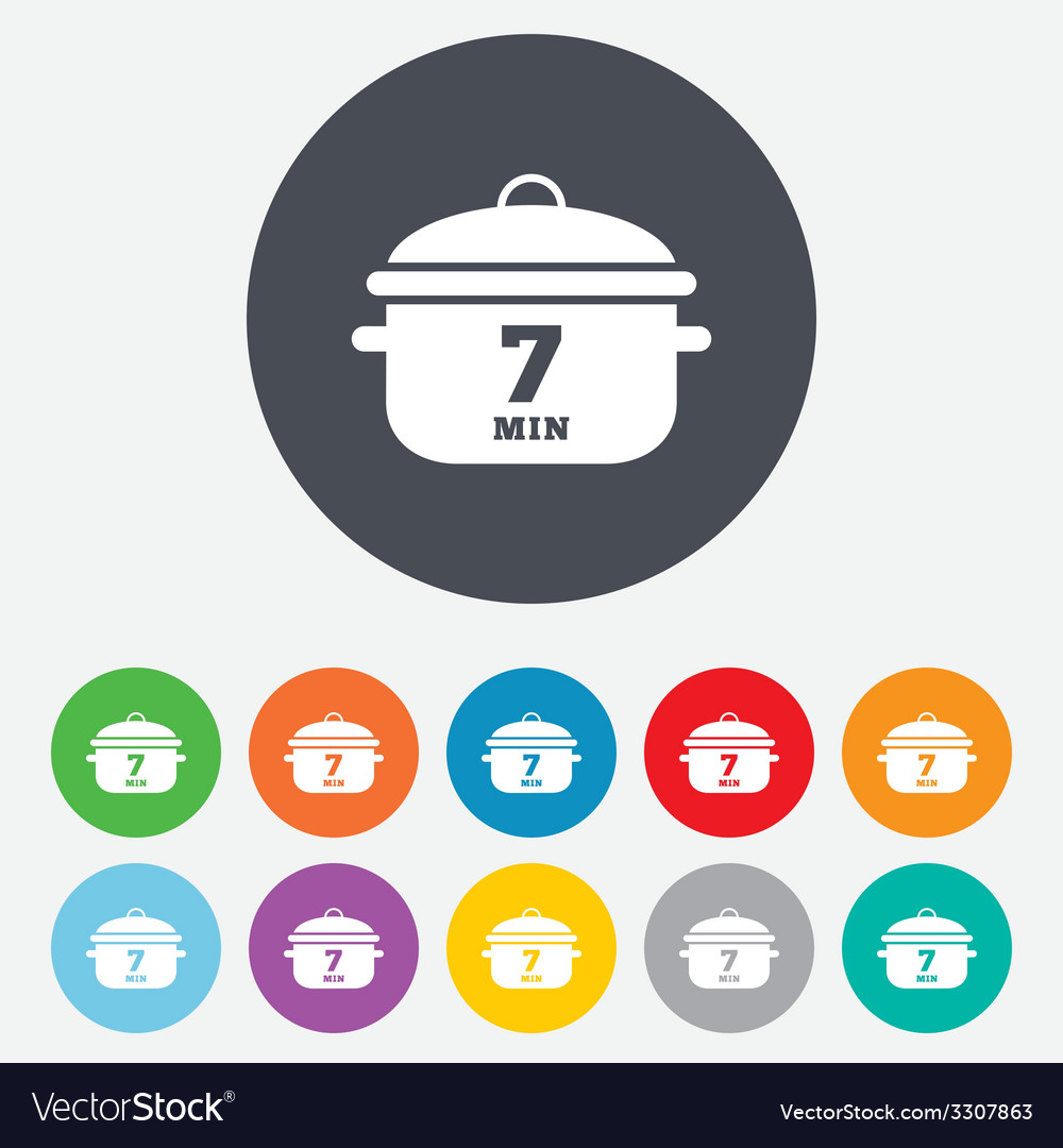 Boil 7 minutes cooking pan sign icon stew food vector