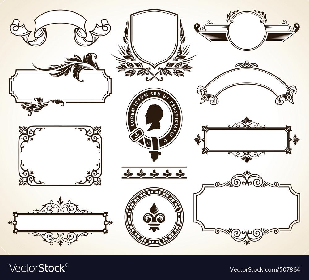 set of ornate frames vector
