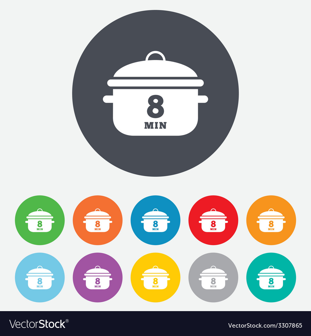 Boil 8 minutes cooking pan sign icon stew food vector