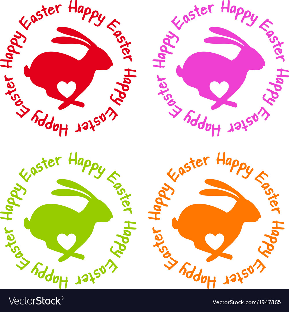 Happy easter bunny with heart vector