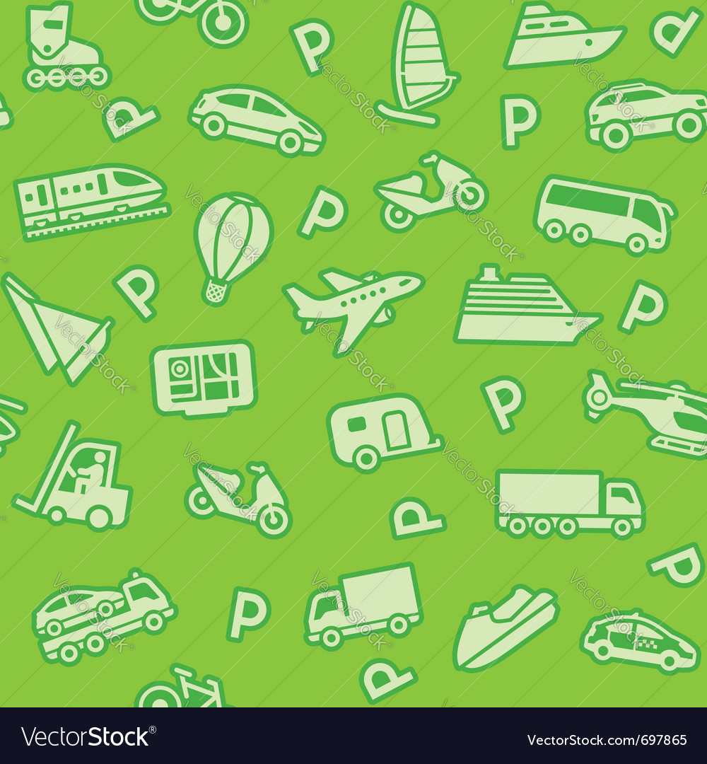 Seamless green transport icons vector