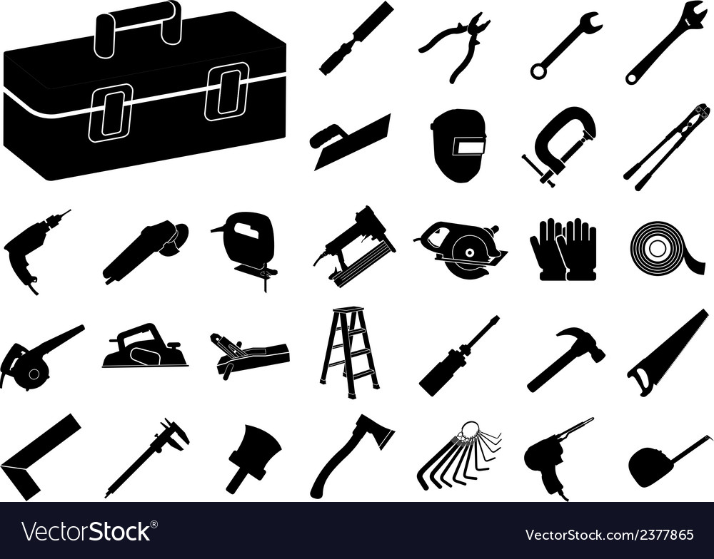 Set of black tool icon vector