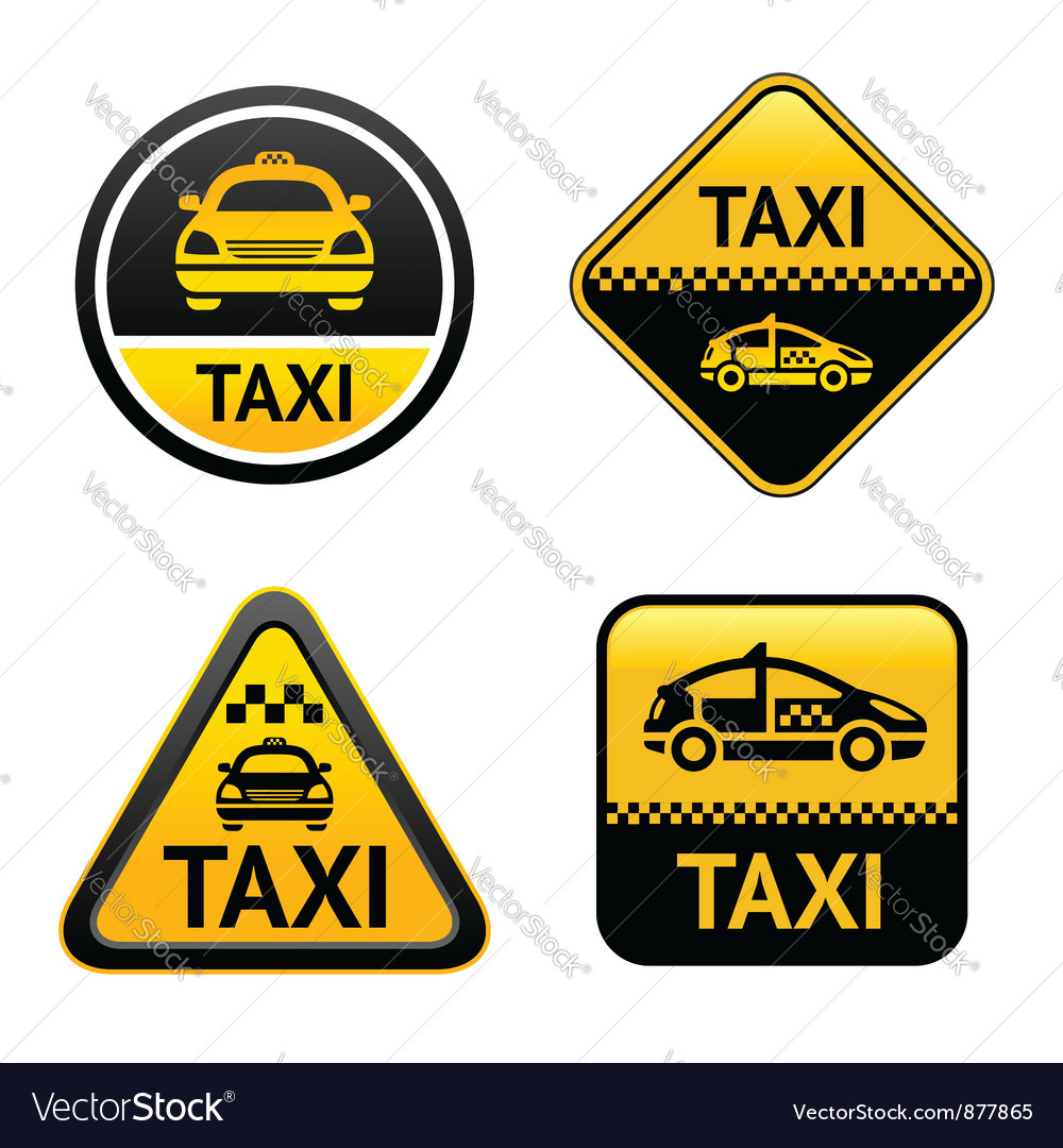 Taxi cab set buttons vector