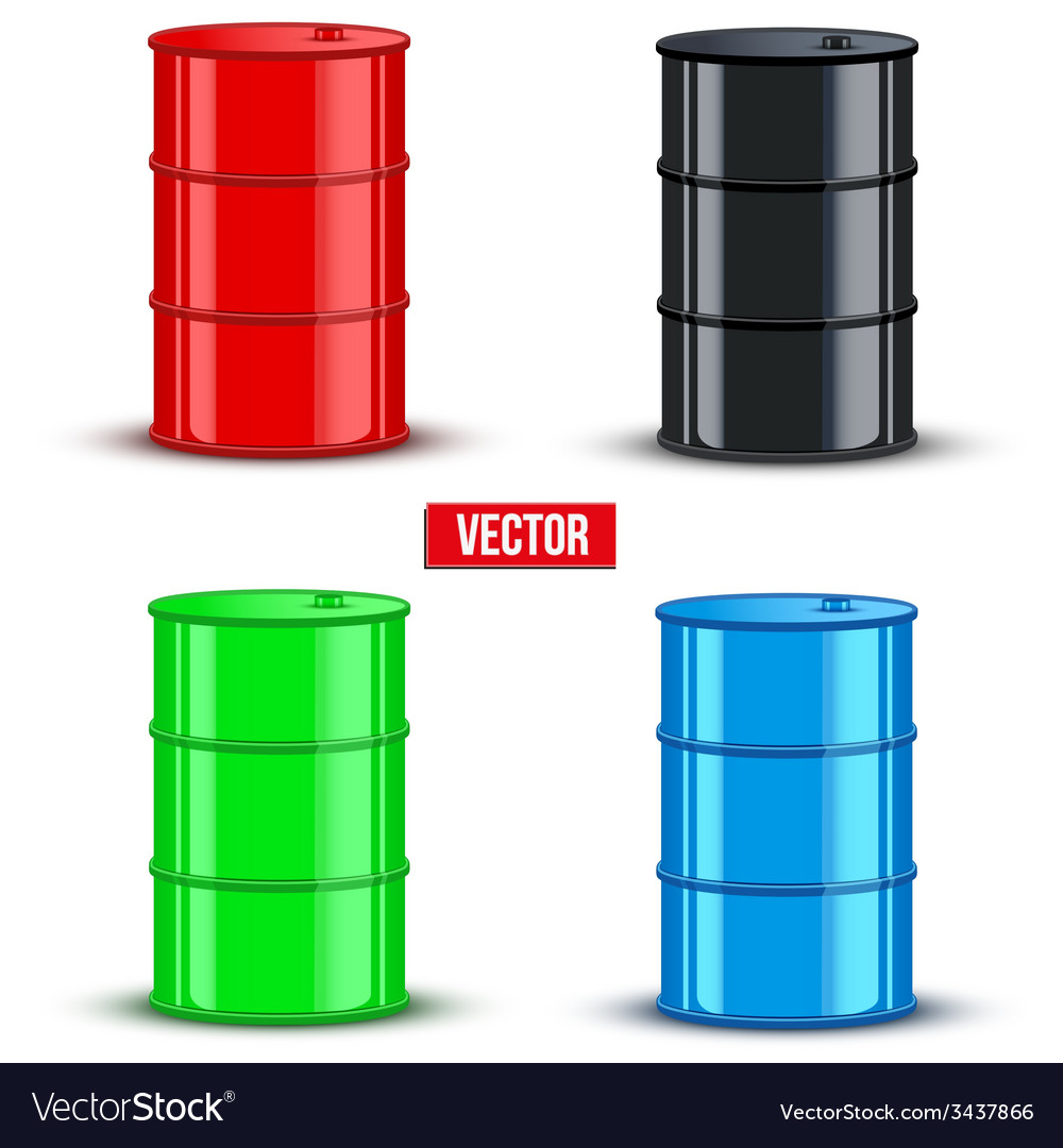 Set of metal oil barrels on white background vector