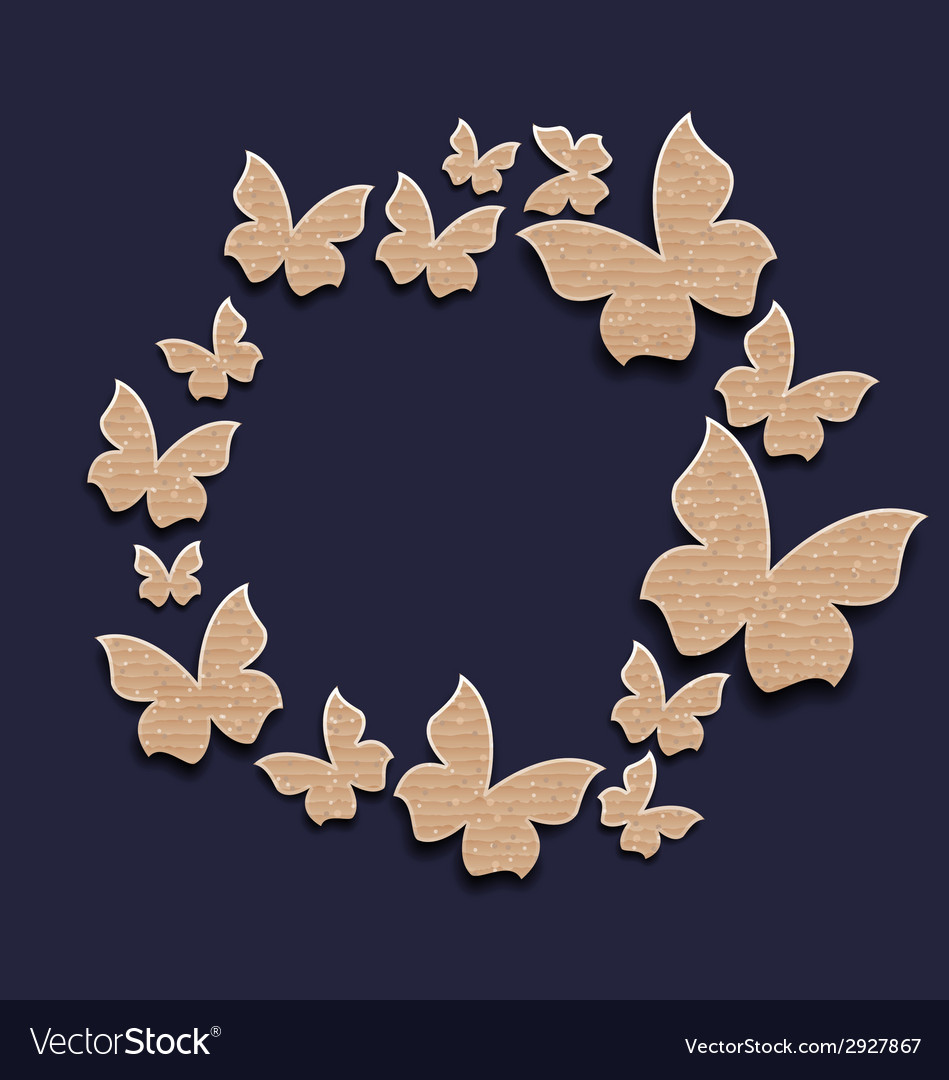 Circle frame with butterflies made in carton paper vector