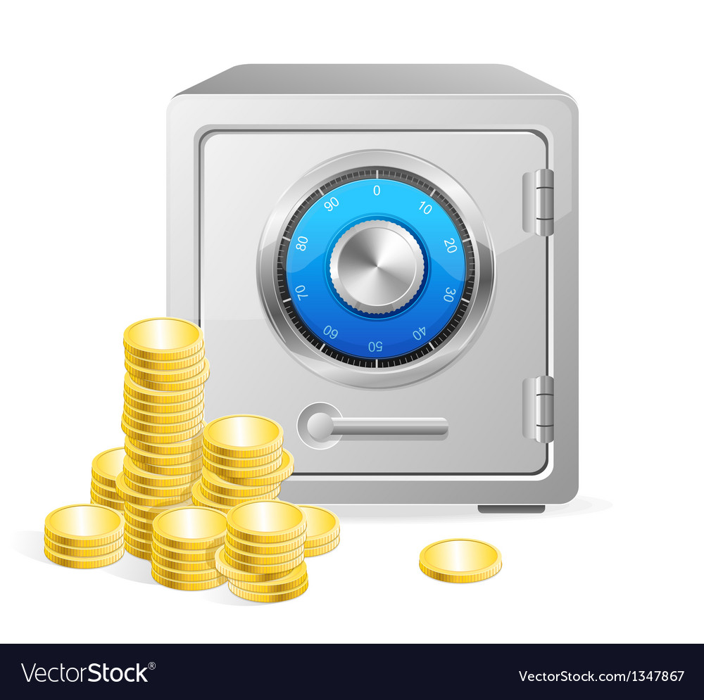Safe with gold coins vector