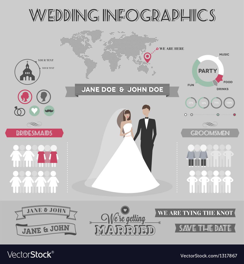 Wedding infographics vector