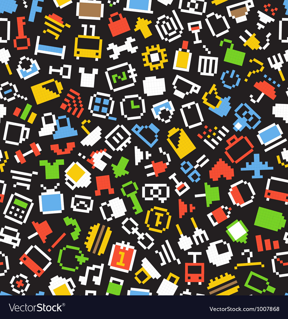 Color pixel style icons seamless background vector