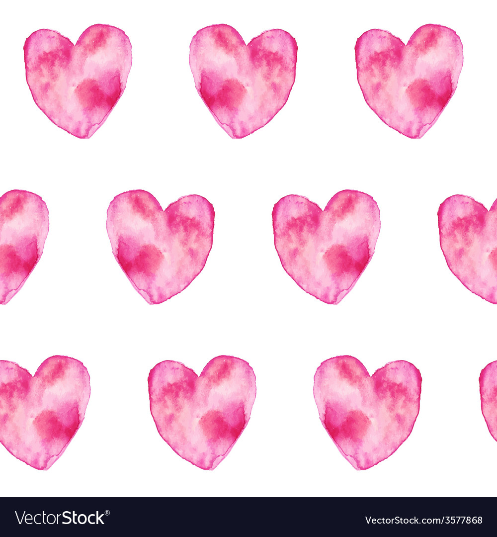 Pink hand-drawn watercolor hearts seamless pattern vector