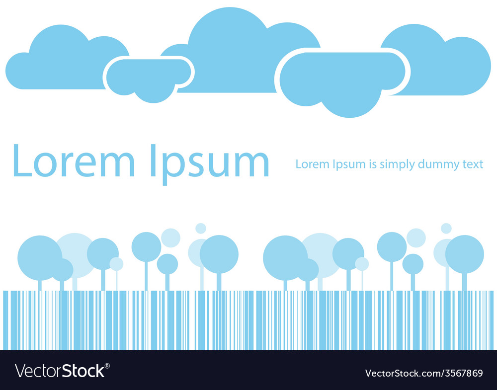 Abstract clouds and trees blue tone for your text vector