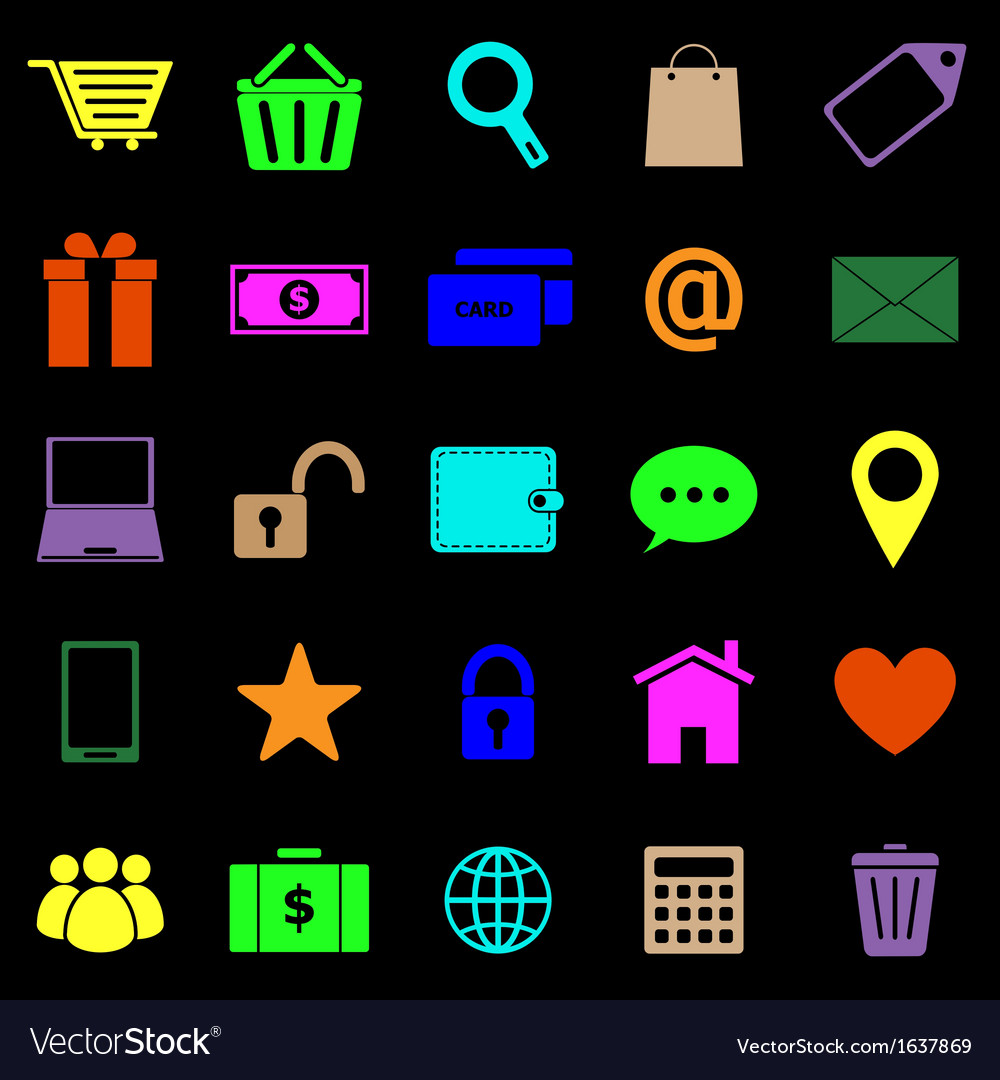 Ecommerce color icons on black background vector