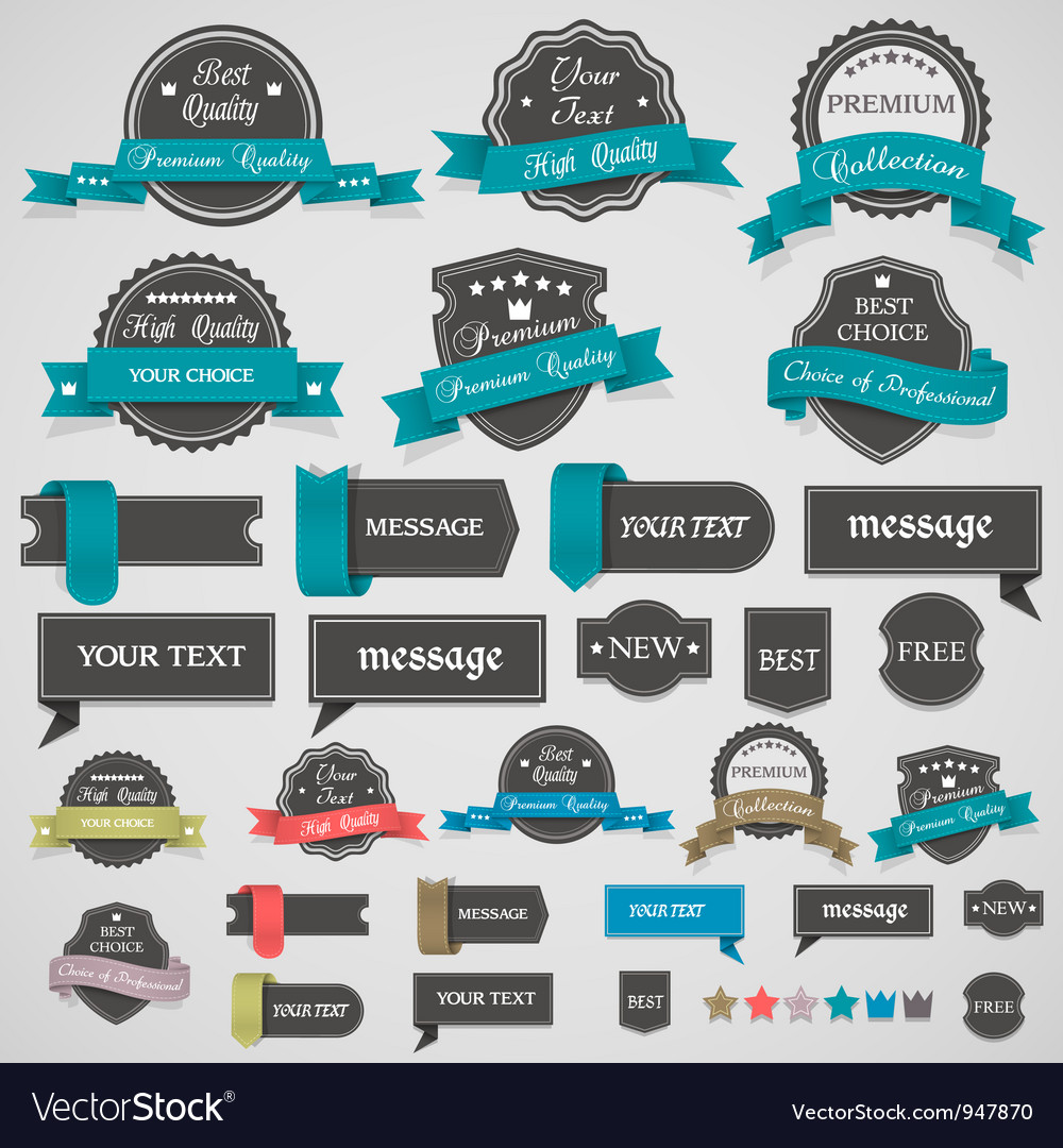 Collection of vintage labels and ribbons vector