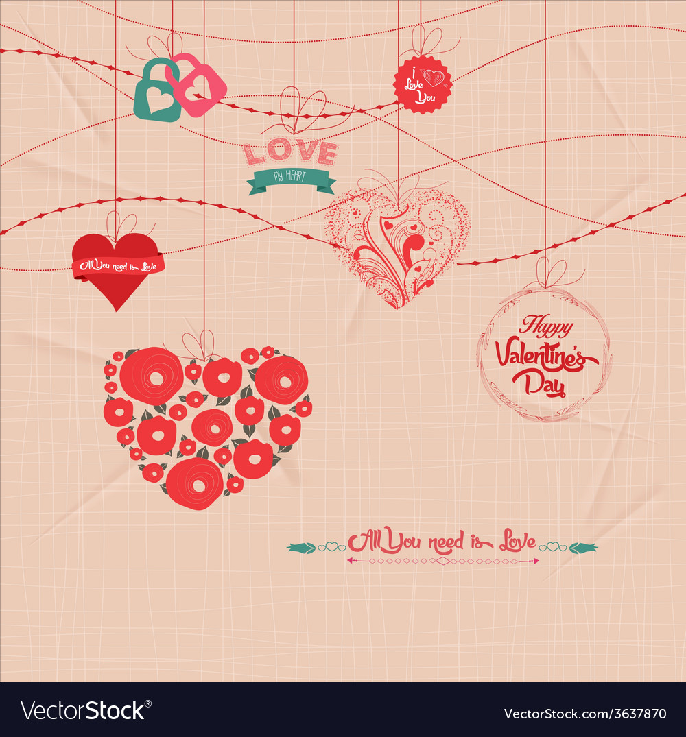 Sparkling valentines day ornaments vector