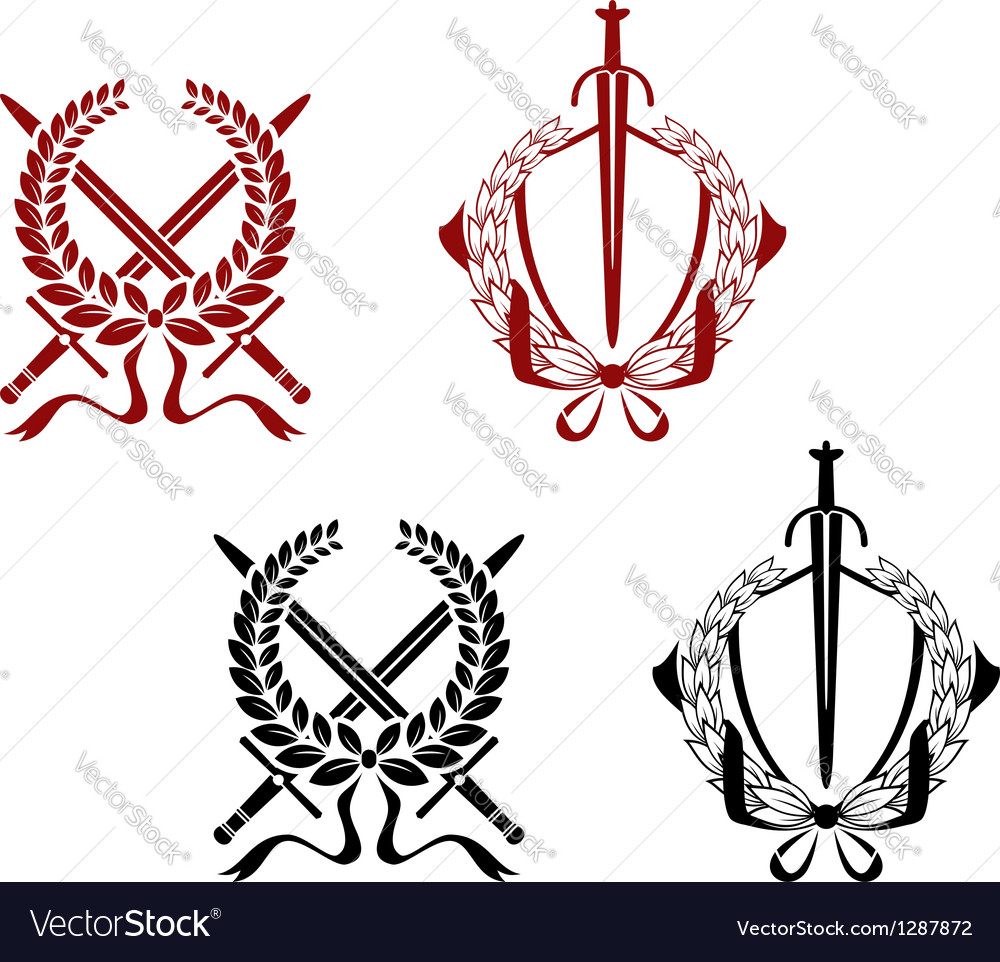 Laurel wreathes with swords and sabers vector