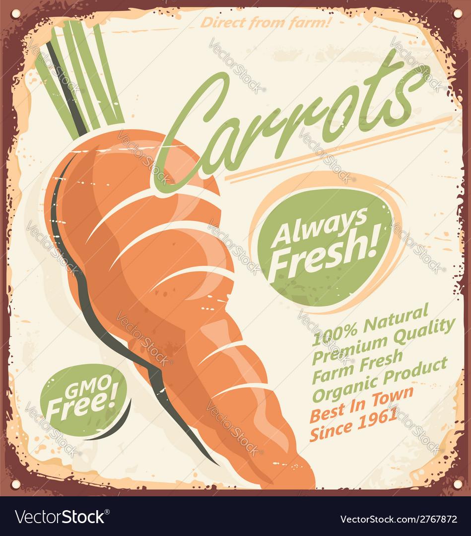Retro metal sign for farm fresh carrots vector