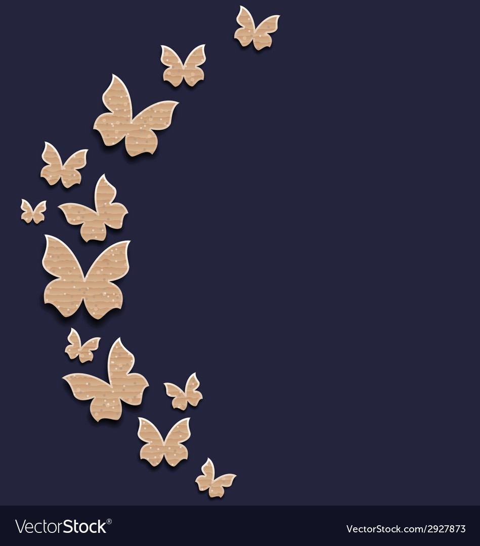 Holiday card with carton paper butterflies vector