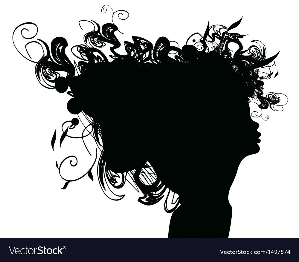 Beauty girl silhouette with rose and leaf vector
