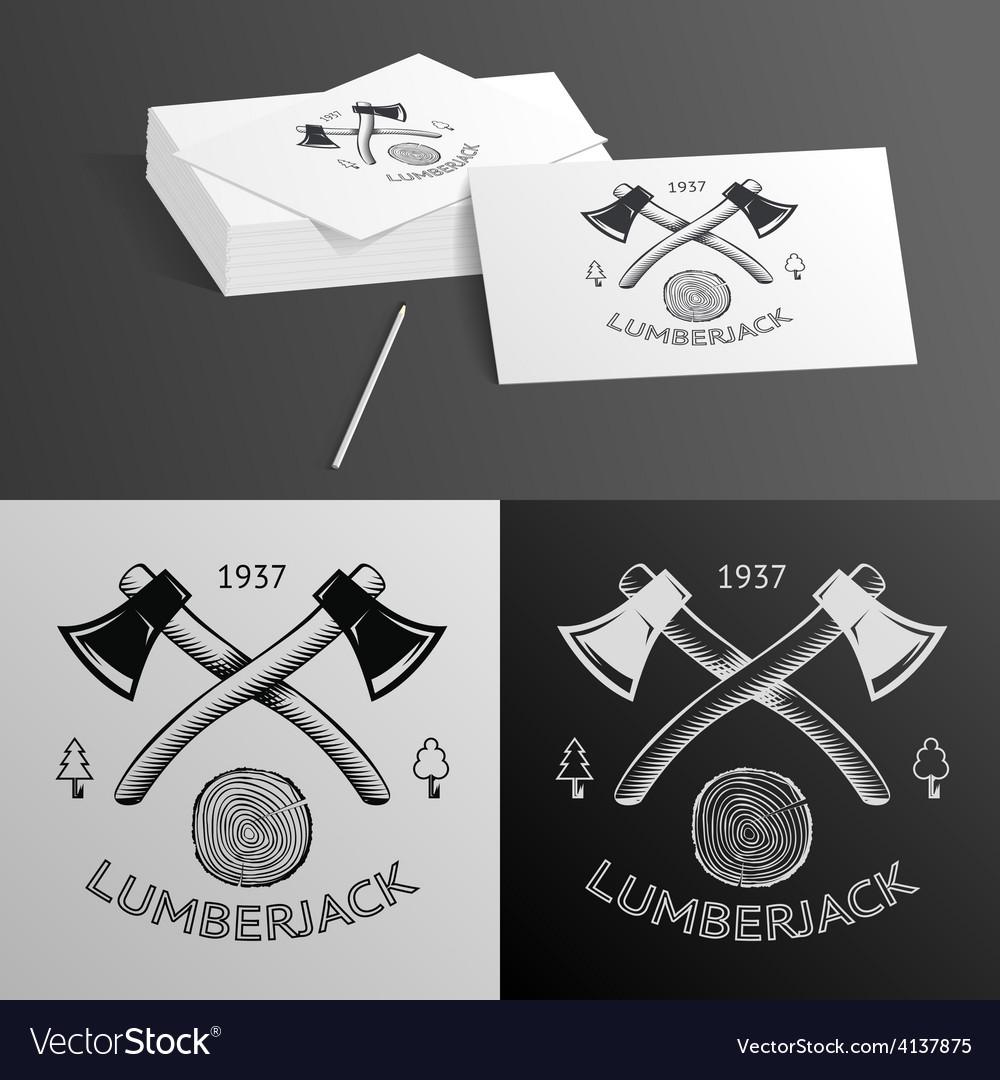 Lumberjack logo symbol hatchet axe wood rings cut vector