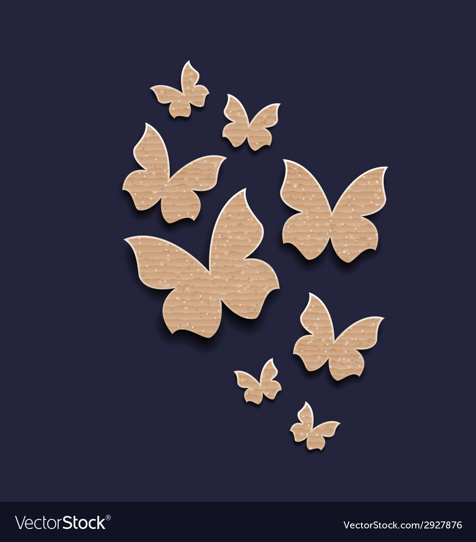 Dark background with butterflies made in carton vector