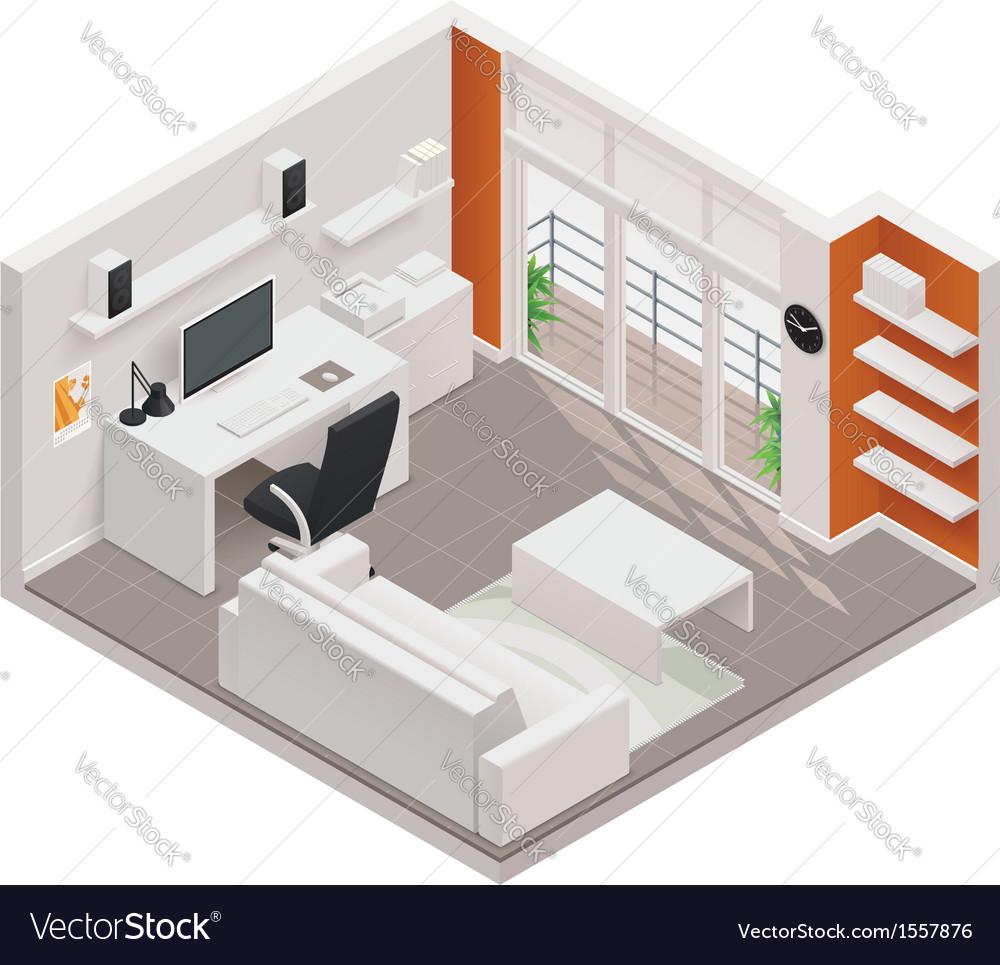 Isometric working room icon vector