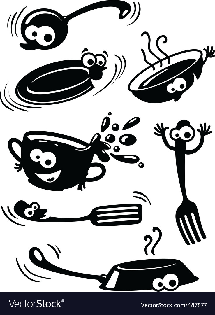 Cute funny kitchenware with eyes vector