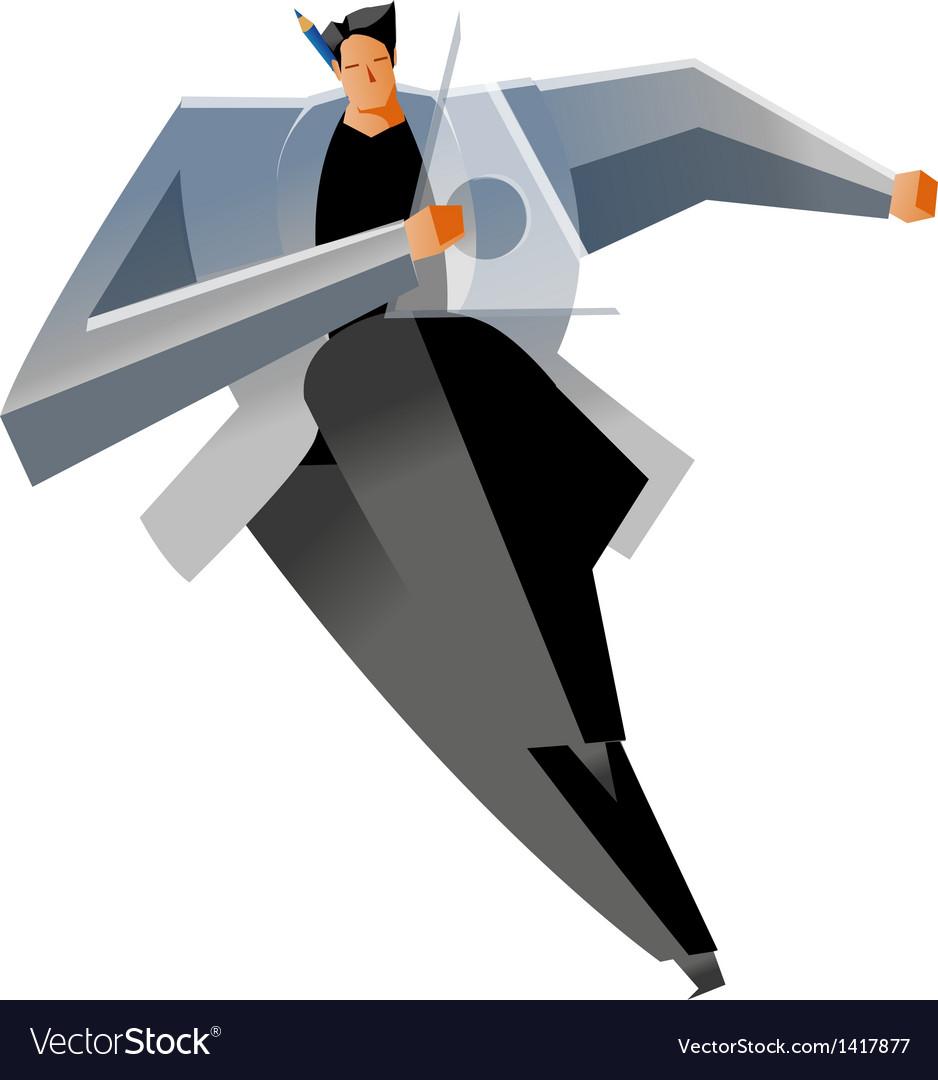 Man close-up running vector