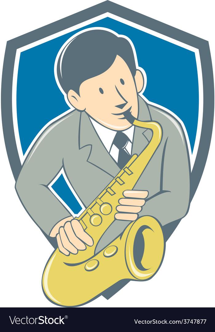 Musician playing saxophone shield cartoon vector