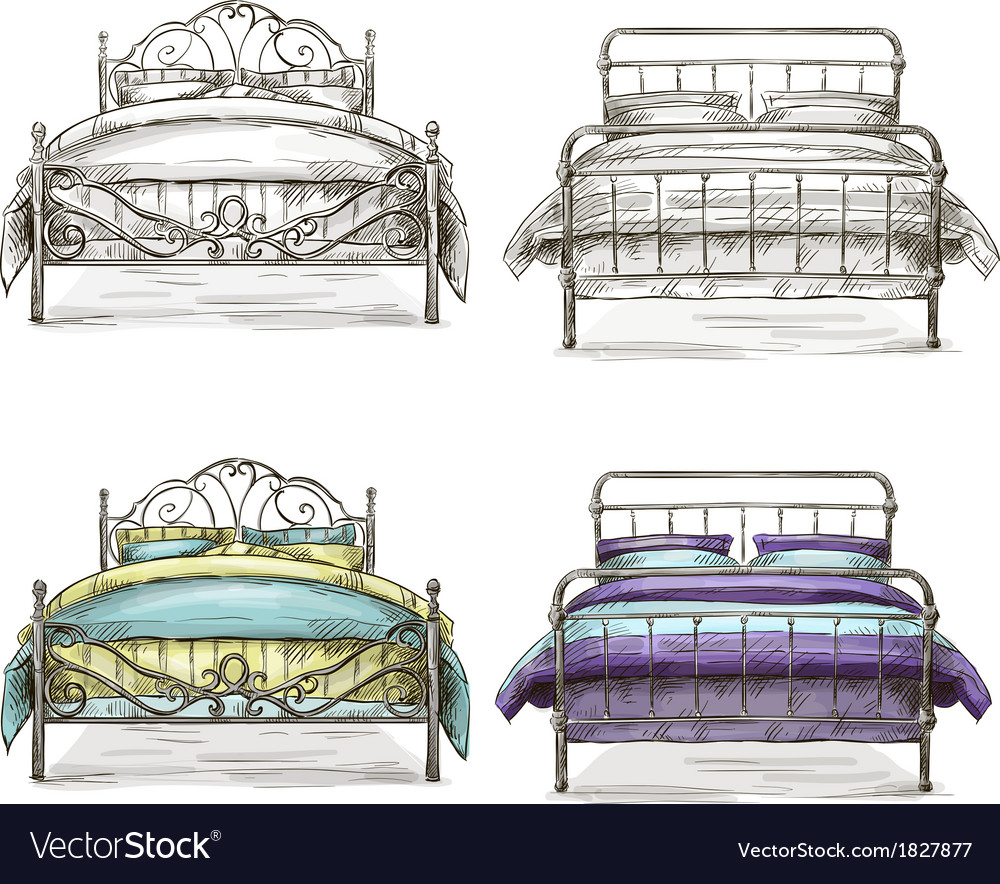 Set of beds drawing sketch style vector