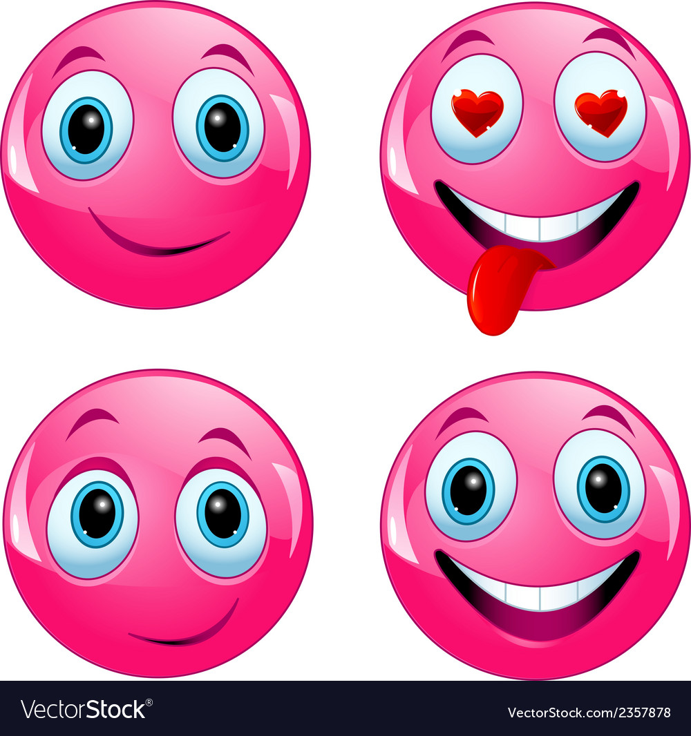 Pink smiley ball vector
